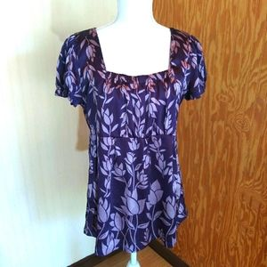 Satiny Purple Floral Short Sleeve Blouse EUC